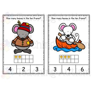 This download includes task cards with ten frames 0 - 10. Students have to count how many leaves are in ten frame and then select the correct answer out of 3 choices on the bottom of the task card.  Come in color/colour and black and white option.   All graphics are linked to the season of Autumn / Fall.  Instructions are included on the first page of PDF file.  2 task cards come on each page.   I recommend cutting and laminating each task card individually, by laminating the task cards you…
