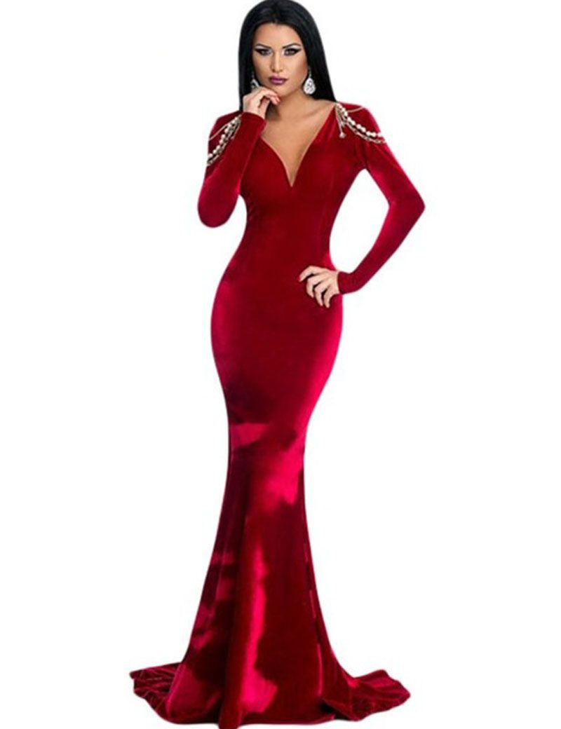 15c605beba DL61273 V neck red velvet dress winter backless long sleeve maxi dress  evening with jeweled chains