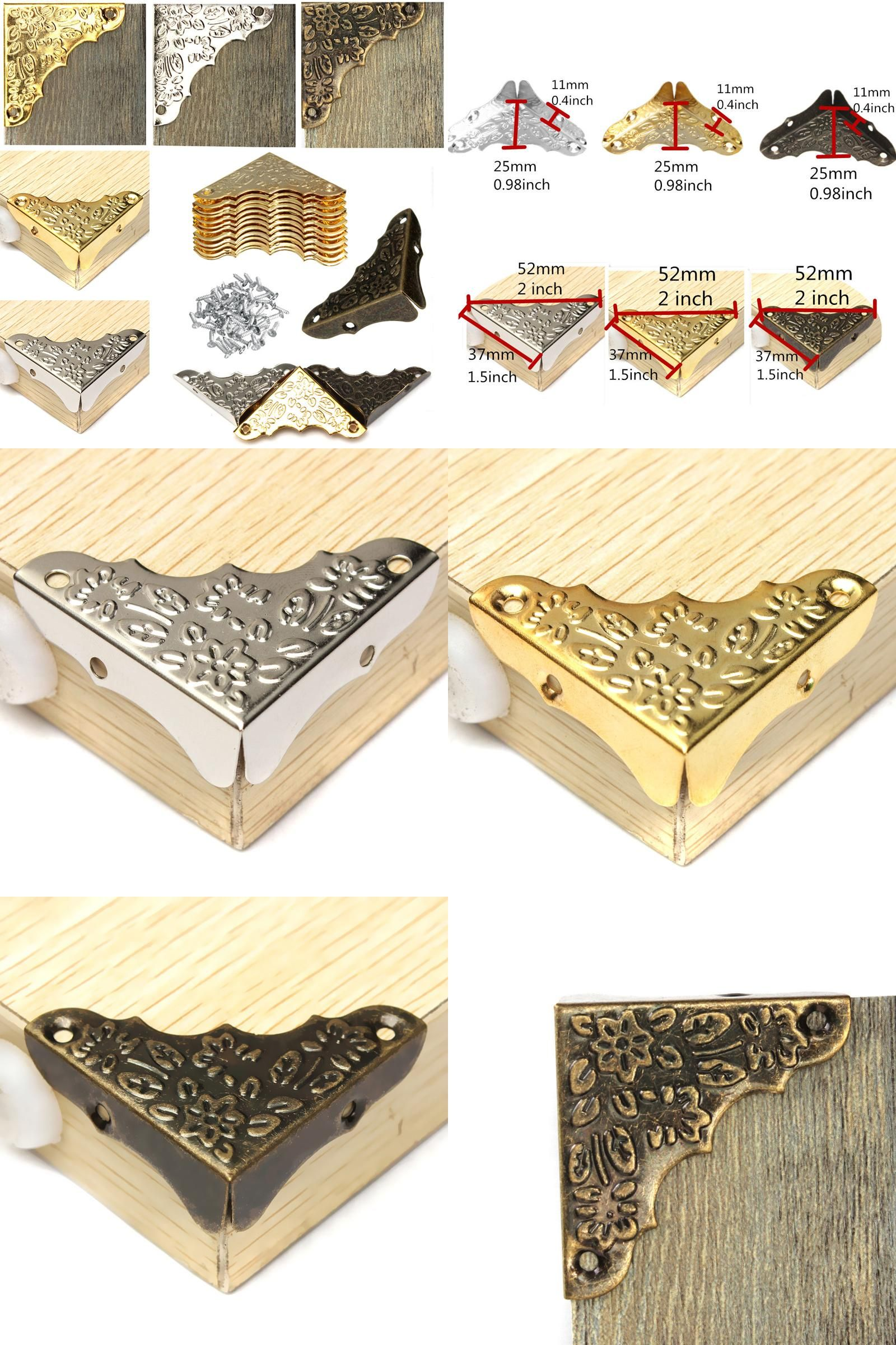 Visit to Buy] Antique Jewelry Corner Protector Wooden Box Frame Feet ...
