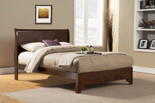 Alpine Furniture 4 Piece West Haven Sleigh Bed Set, Full, Cappuccino
