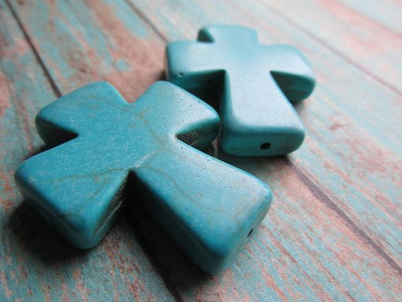 Two Turquoise Magnesite Cross Pendants, Cross, Christian Symbol, Turquoise Cross, Magnesite,