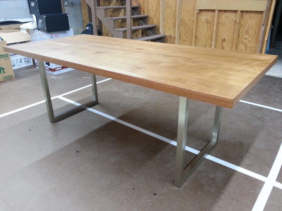 Solid Core Slab Door With Iron On Veneer Edging And Craigslist  Table Legs...stained With A Mix Of Minwax Early American (1qt) And  Varathane Ash (1 ...