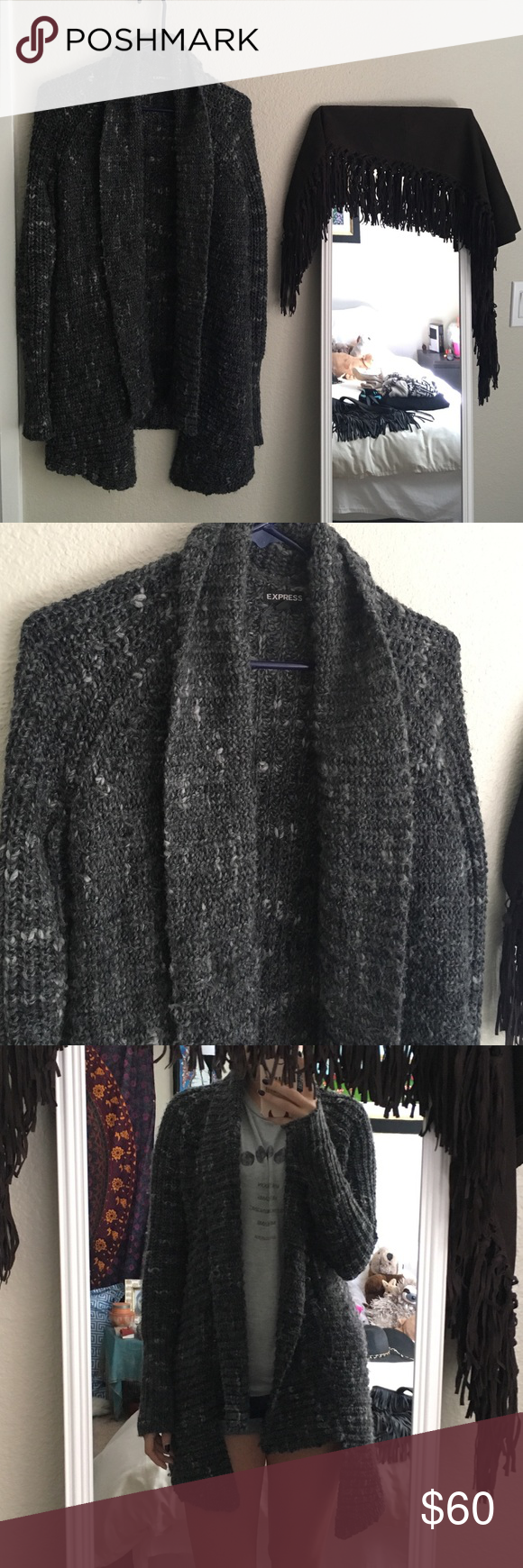 Dark gray Express knit cardigan Dark gray knit Express cardigan sweater. Good used condition. Size small. Express Sweaters Cardigans