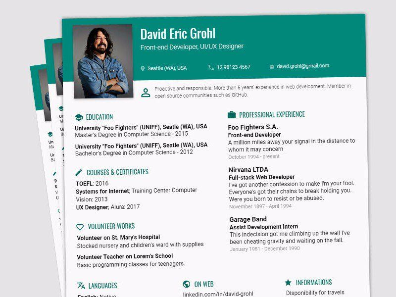 Resume Profile Page Material Design Products Pinterest - resume profile
