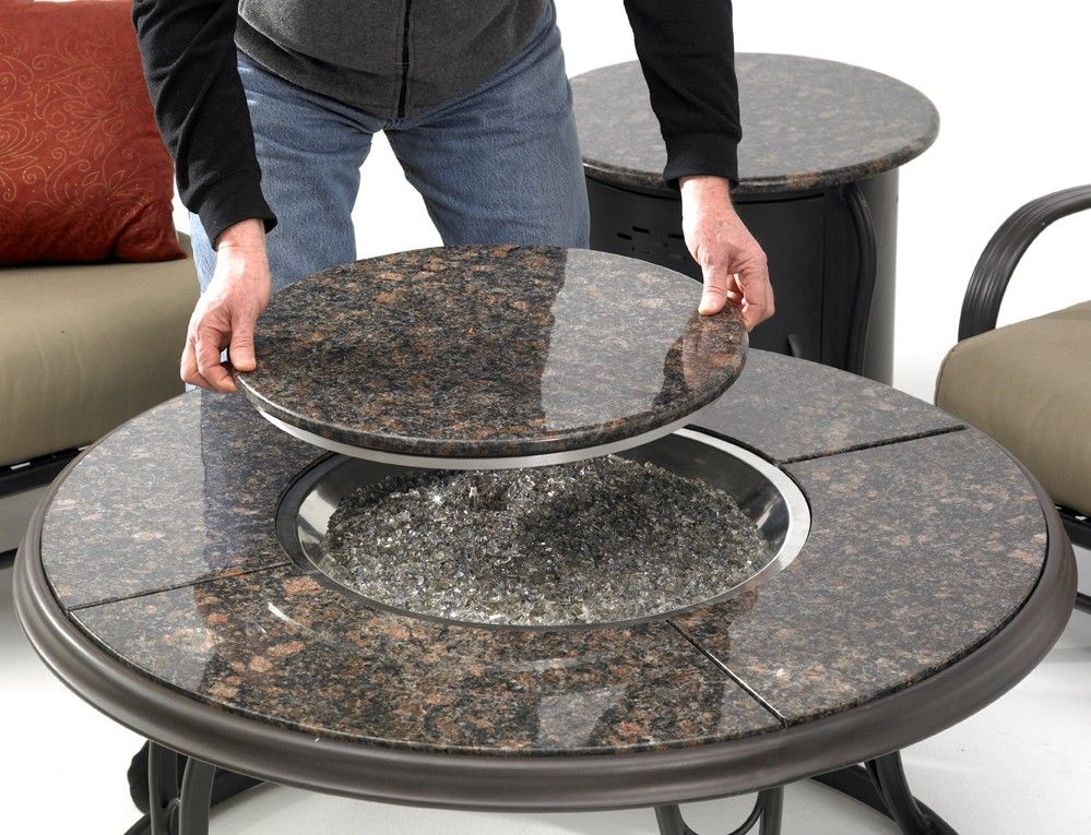 42 Inch Granite Top Fire Pit Table Lazy Susan In 2020 Fire Pit Granite Fire Pit Gas Fire Pit Table