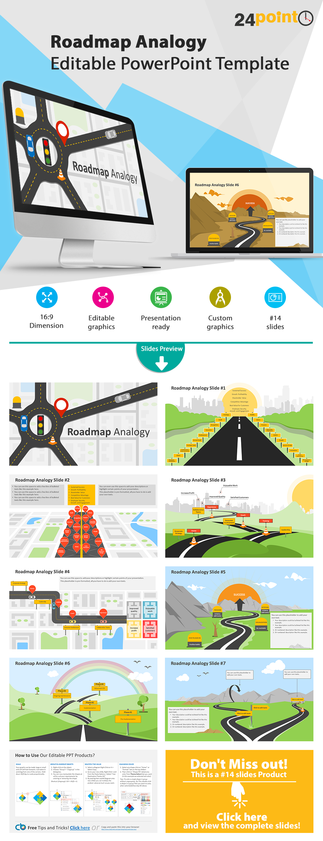 editable powerpoint templates: roadmap analogy slides | so what's, Modern powerpoint