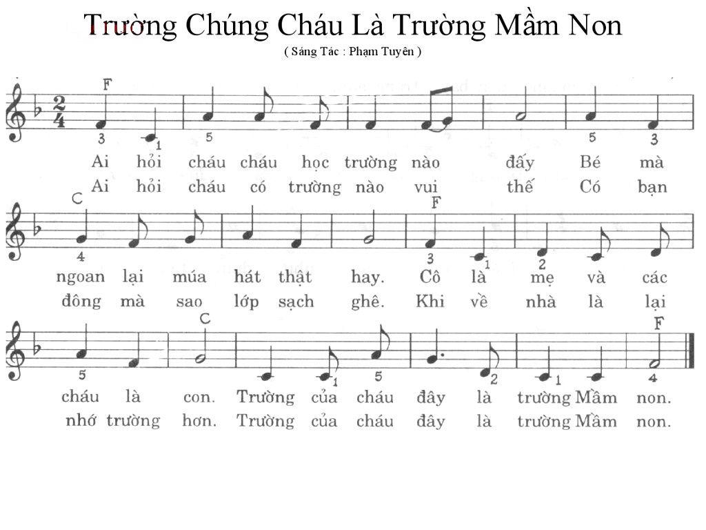 Sheet Nhạc Bai Trường Chung Chau La Trường Mầm Non Hợp Am Việt Bai Hat Mầm Non Bảng Nhạc