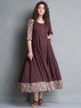 543db857fe Buy Burgundy-Beige Bagru Printed Cotton Kalidar Kurta Online ...