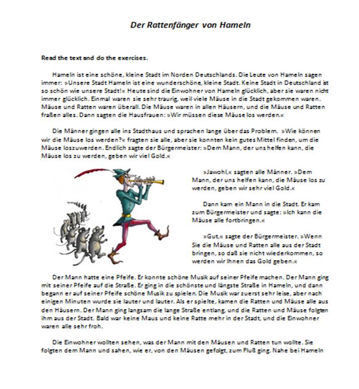 beginner level reading comprehension worksheet about the pied piper of hamelin from deutschdrang. Black Bedroom Furniture Sets. Home Design Ideas