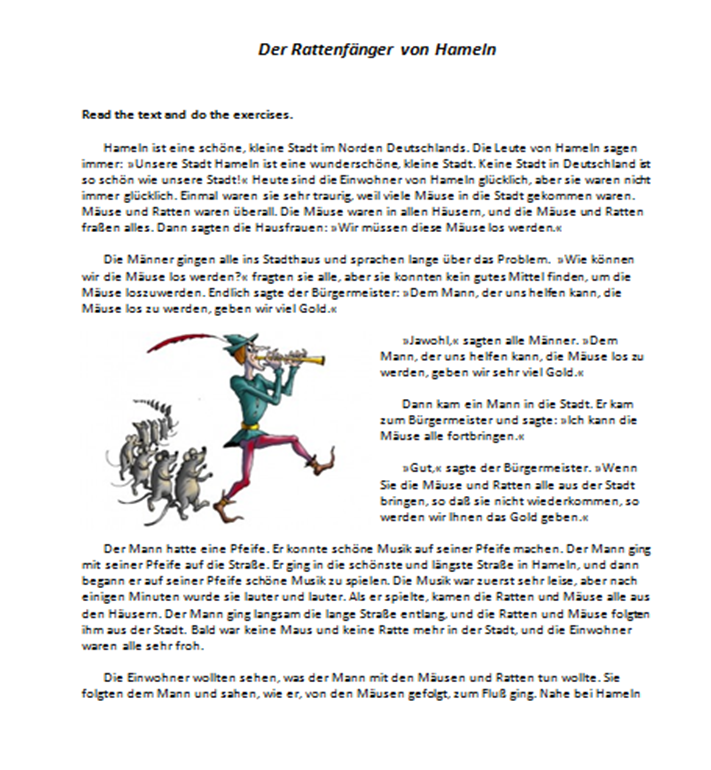 Beginner-level reading comprehension worksheet about the Pied Piper ...