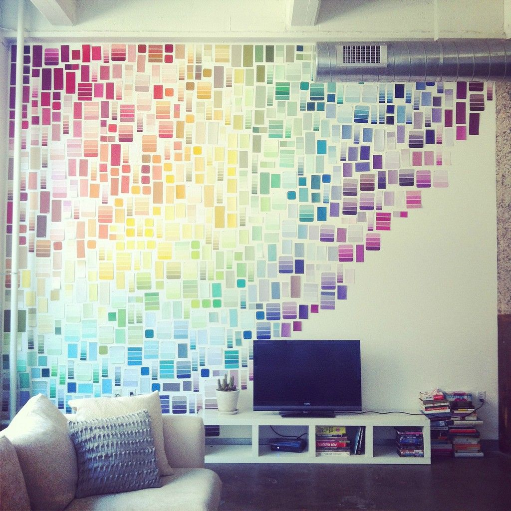 Celebrate your dorm room - with paint swatches! Create a rainbow effect  like Liz Apple's rainbow wall of paint chips or use paint swatches to  create waves ...