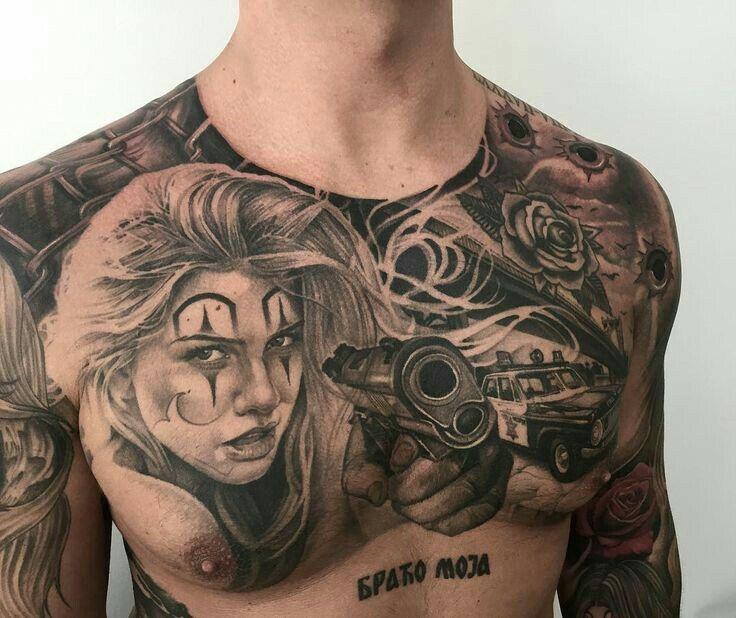 Tight Chest Piece Clown Tattoo Gangster Tattoos Boog Tattoo
