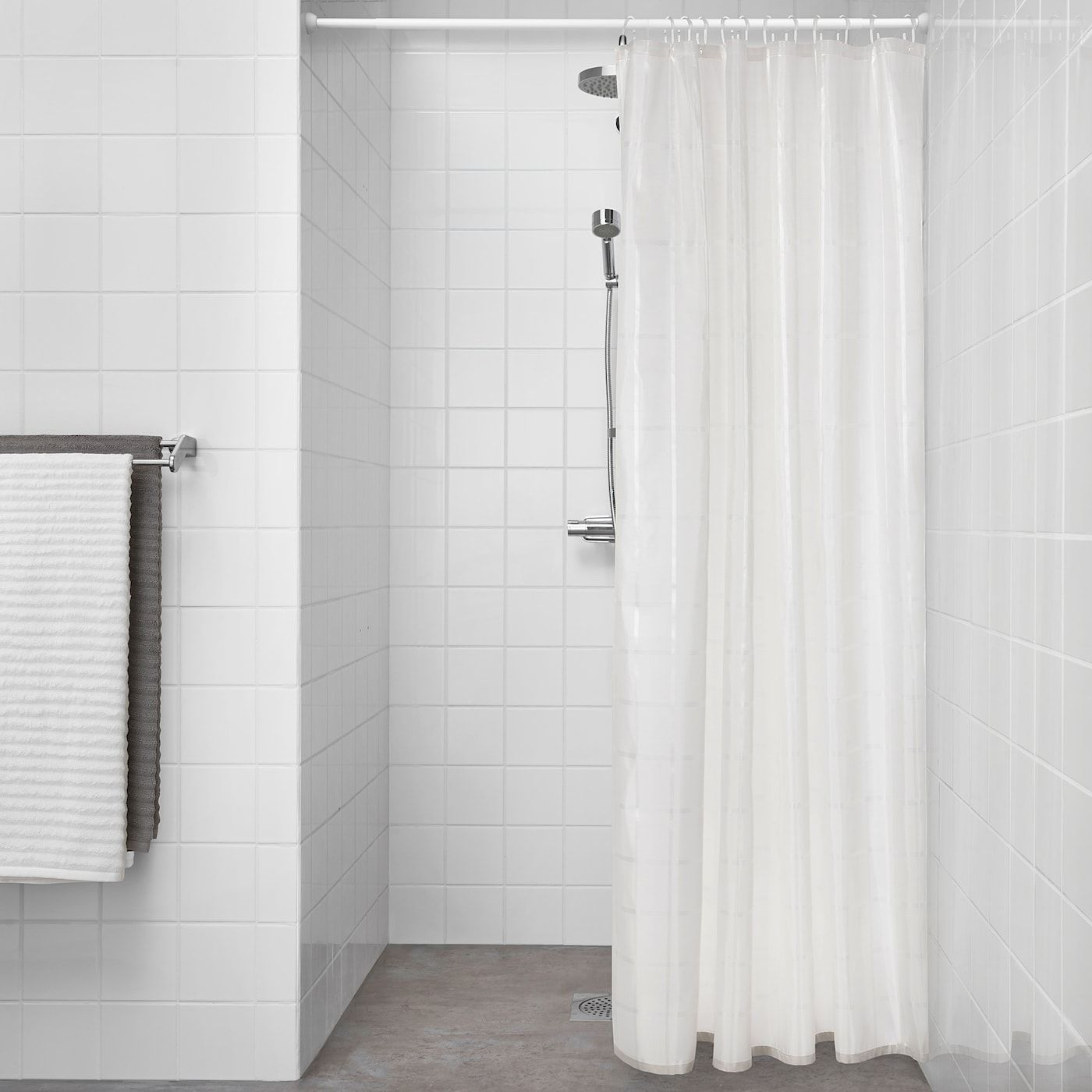 Ikea Klockaren Shower Curtain Off White In 2020 Fabric Shower