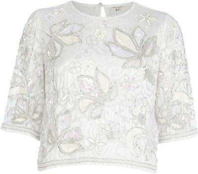 White floral embellished crop t-shirt