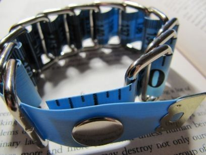 Blue Tape Measure Bracelet  Upcycled/Recycled by HomeMadeKarma, $8.00