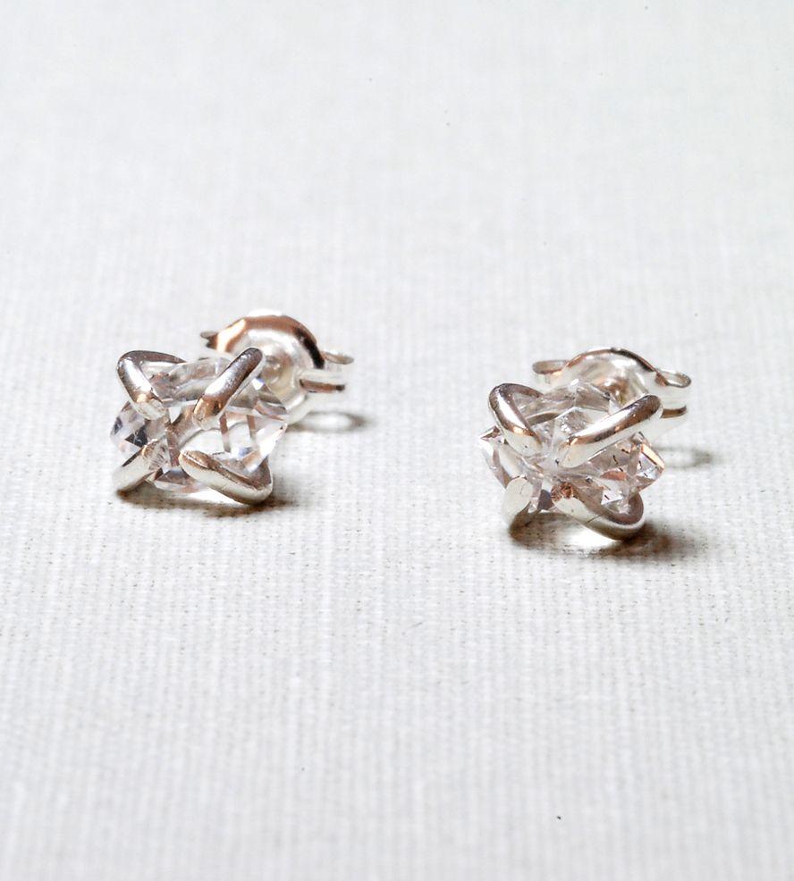 Silver Herkimer Diamond Stud Earrings