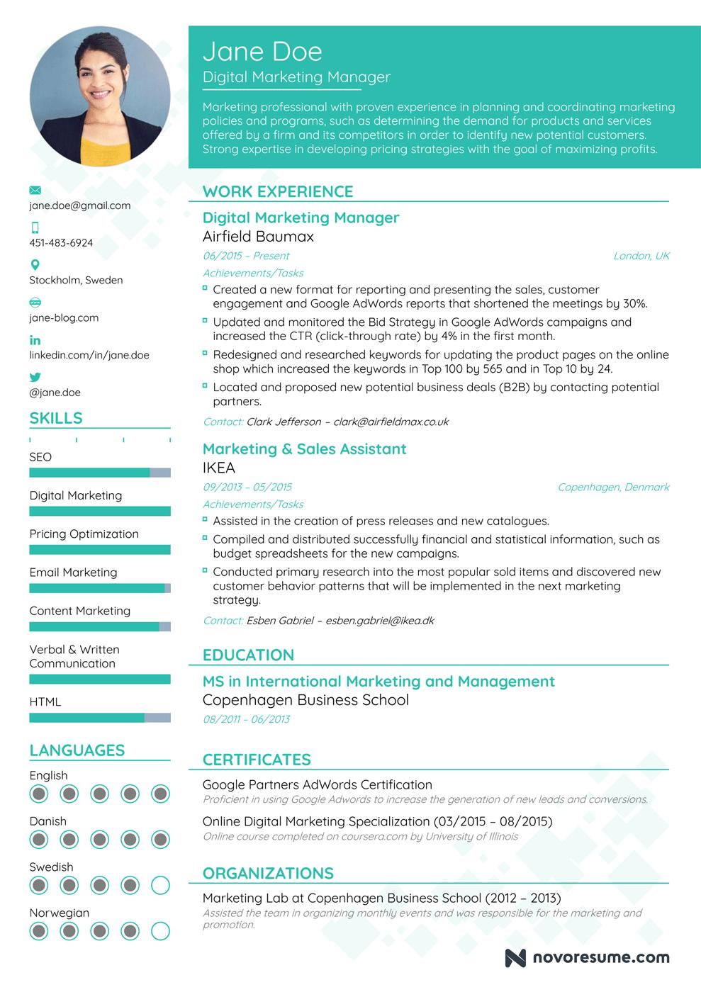 Extensive Resume Guide Examples Best Resume Format Marketing Resume Best Resume Template