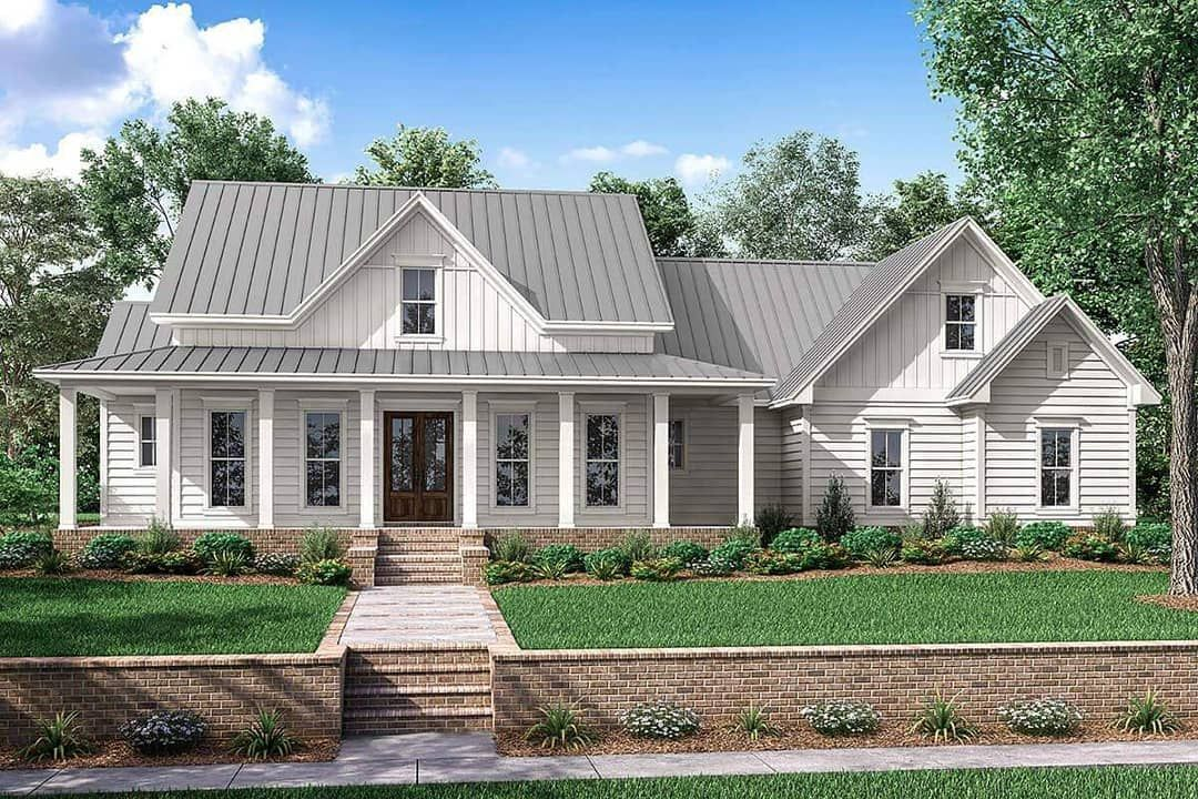 America S Best House Plans On Instagram This Stunning Farmhouse Plan Has A Welcomin Farmhouse Style House Plans Modern Farmhouse Plans Farmhouse Style House