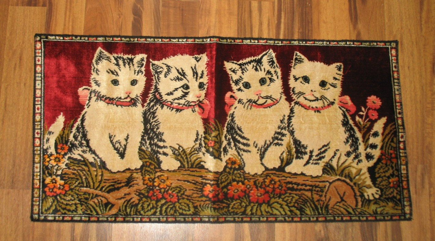 Look Vintage Table Tapesty Four cute kittens by Catloversdream on Etsy