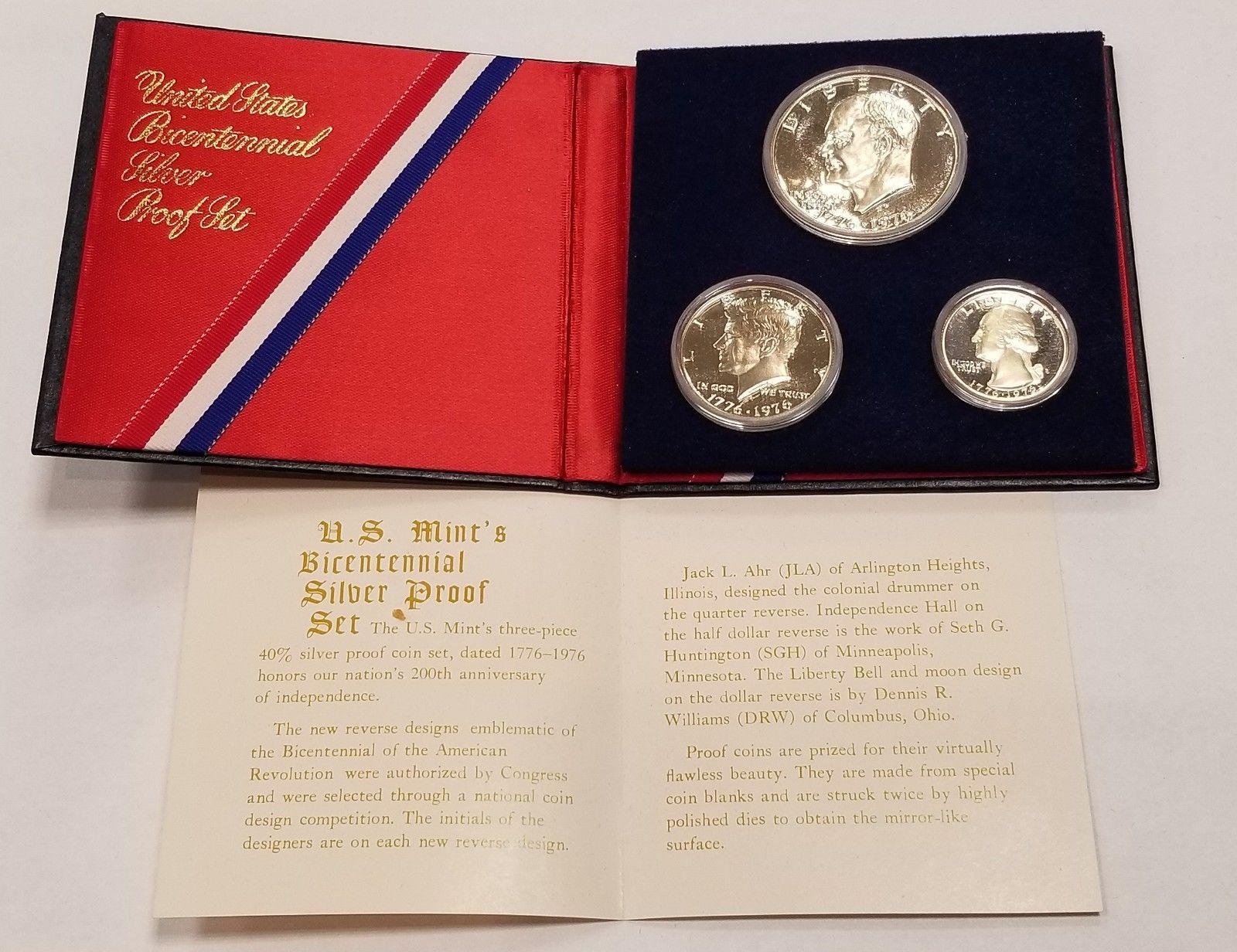 1976 S Proof Set 3 Piece Bicentennial Ike Kennedy Washington 40/% Silver US Coins