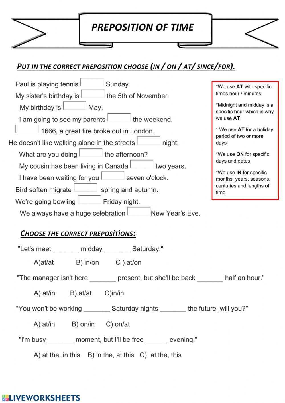 Preposition Of Time Interactive Worksheet In 2020 English As A Second Language Prepositions English Language Teaching