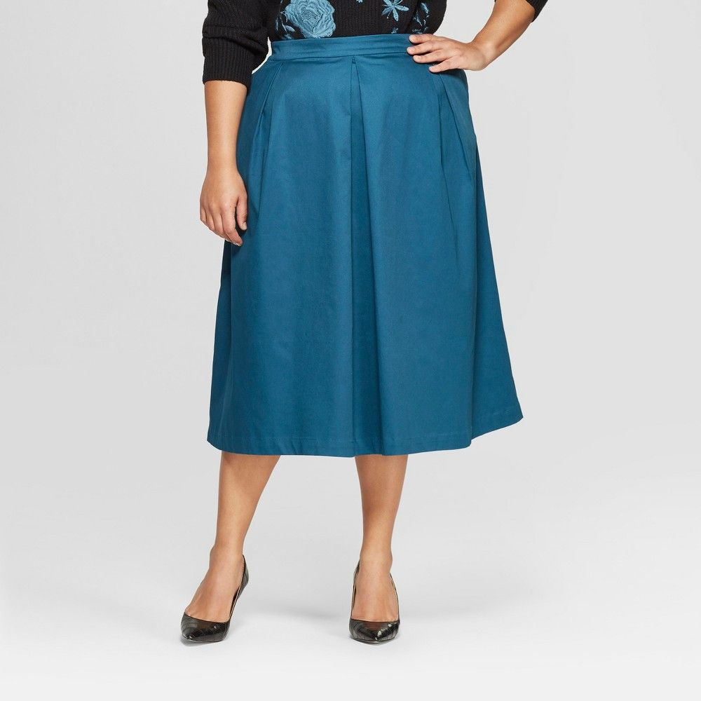 0dba88c118b319 Women's Plus Size Birdcage Silky Midi Skirt - Who What Wear Blue 16W  Gender: Female. Age Group: Adult. Pattern: Solid. Material: Cotton.. Women's  Plus Size ...