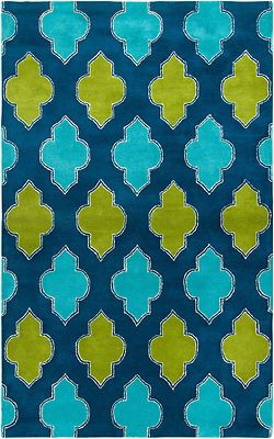 New Area Rug 8x10 Wool Modern Navy Teal Lime Green Moroccan