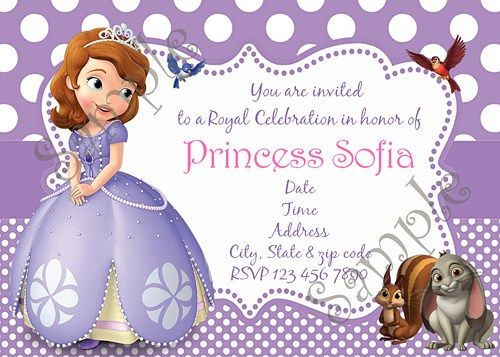 Sofia The First Birthday Party Invitation Free Thank You Card Compleanno
