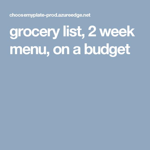 grocery lists on a budget