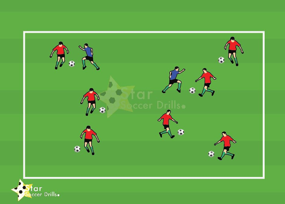 Sharks And Minnows Focus Of The Drill The Drill Is Aimed At U5 U8 Players And Teaches The Players How To D Soccer Drills Diving Equipment Football Training