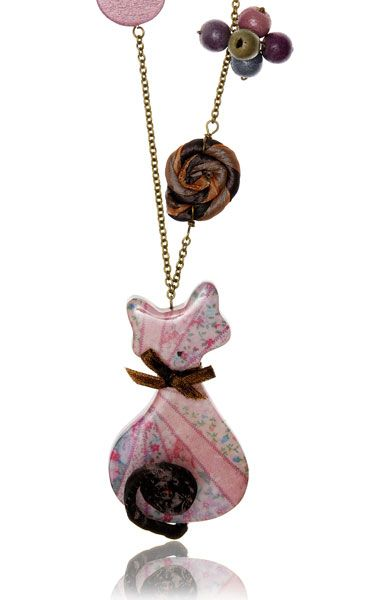 Resin Cat Necklace with Silk and Beads - Pink