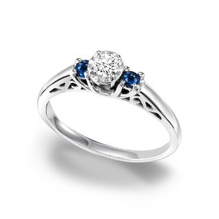 cambridge sterling silver 13ct tdw diamond and sapphire ring size 9 womens white - Silver Diamond Wedding Rings