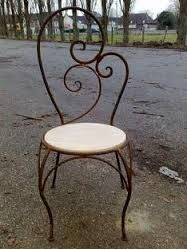 chaise fer forge assise bois