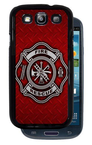 Fire Rescue Symbol Red Diamond Plate Brushed Aluminum Black