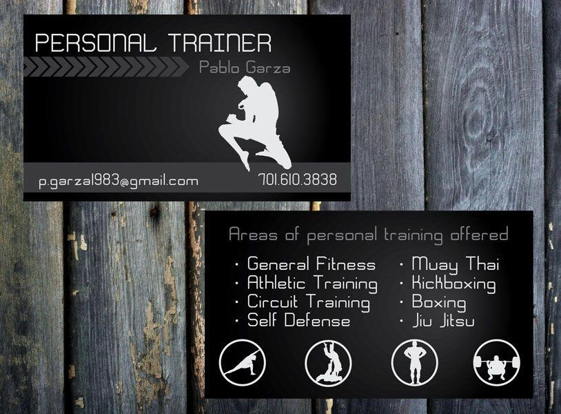 Pablogarzabusinesscardjpg Fitness Pinterest - Personal trainer business cards templates