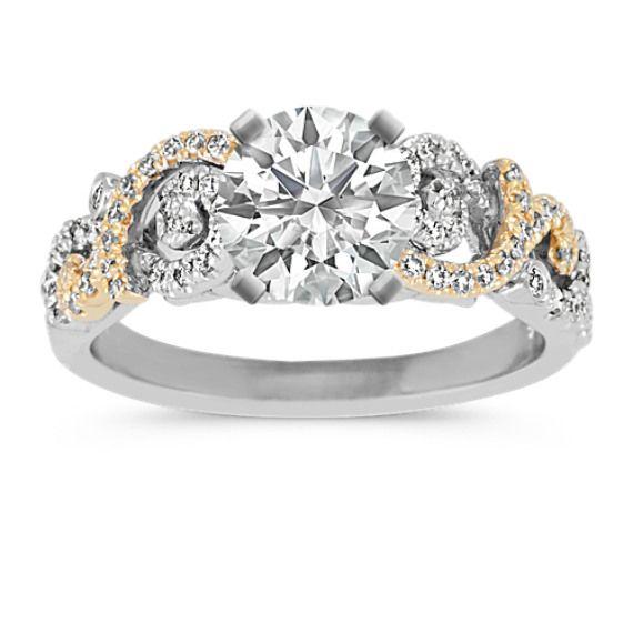 Two Tone Gold Round Diamond Swirl Engagement Ring Swirl Engagement Rings Designer Engagement Rings Vintage Diamond Wedding Bands