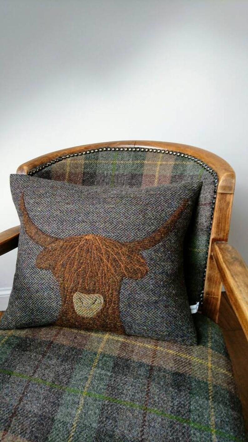Hand Crafted Harris Tweed Highland Cow embroidered