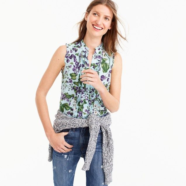 Sleeveless ruffle button-up in Ratti® fruity floral print   Women blouses  7adba379a