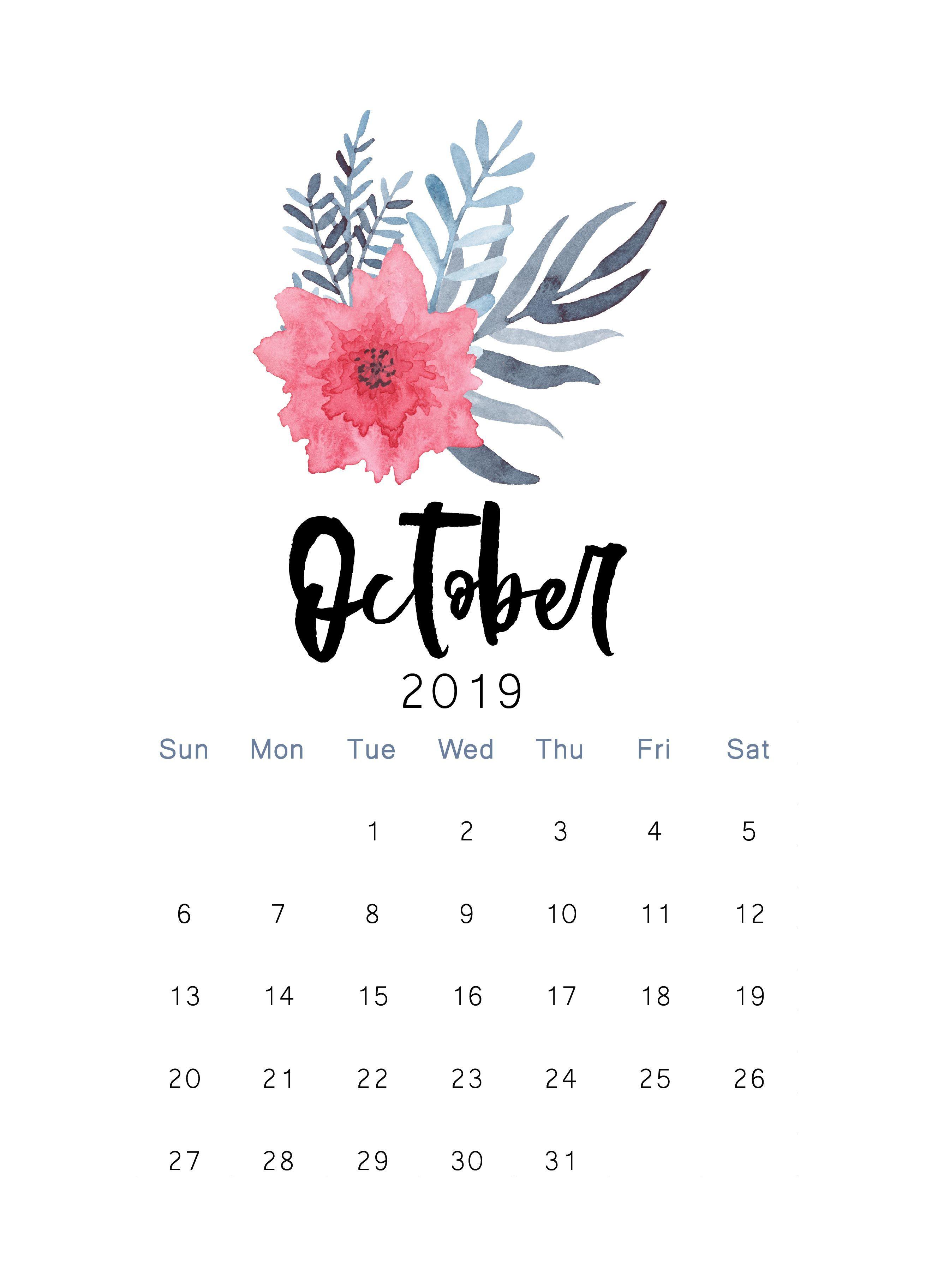 October Calendar 2019.October 2019 Printable Calendar The Cactus Creative October