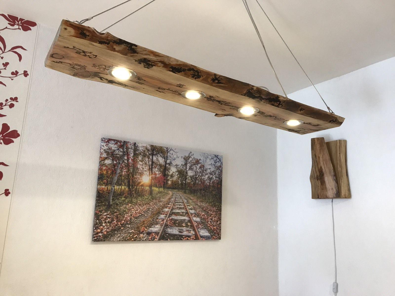 LED Decken Holz Lampe Rustikal 120cm 4x 7W Massivholz Lichtenberg Design |  Möbel U0026 Wohnen,
