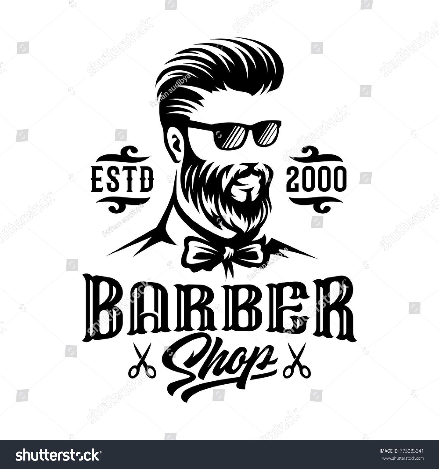 Barbershop Hairstyle Man Label Logo Illustration Man Hairstyle Barbershop Illustration Gambar Desain Gambar Pensil