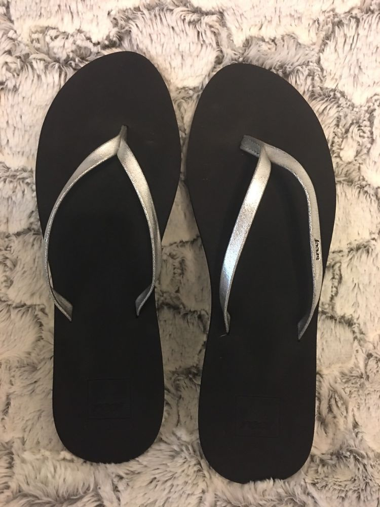 95e37452d2fb REEF Womens Bliss Nights II Thong Flip Flops Sandals Sz 9 40 NWT Black    Silver