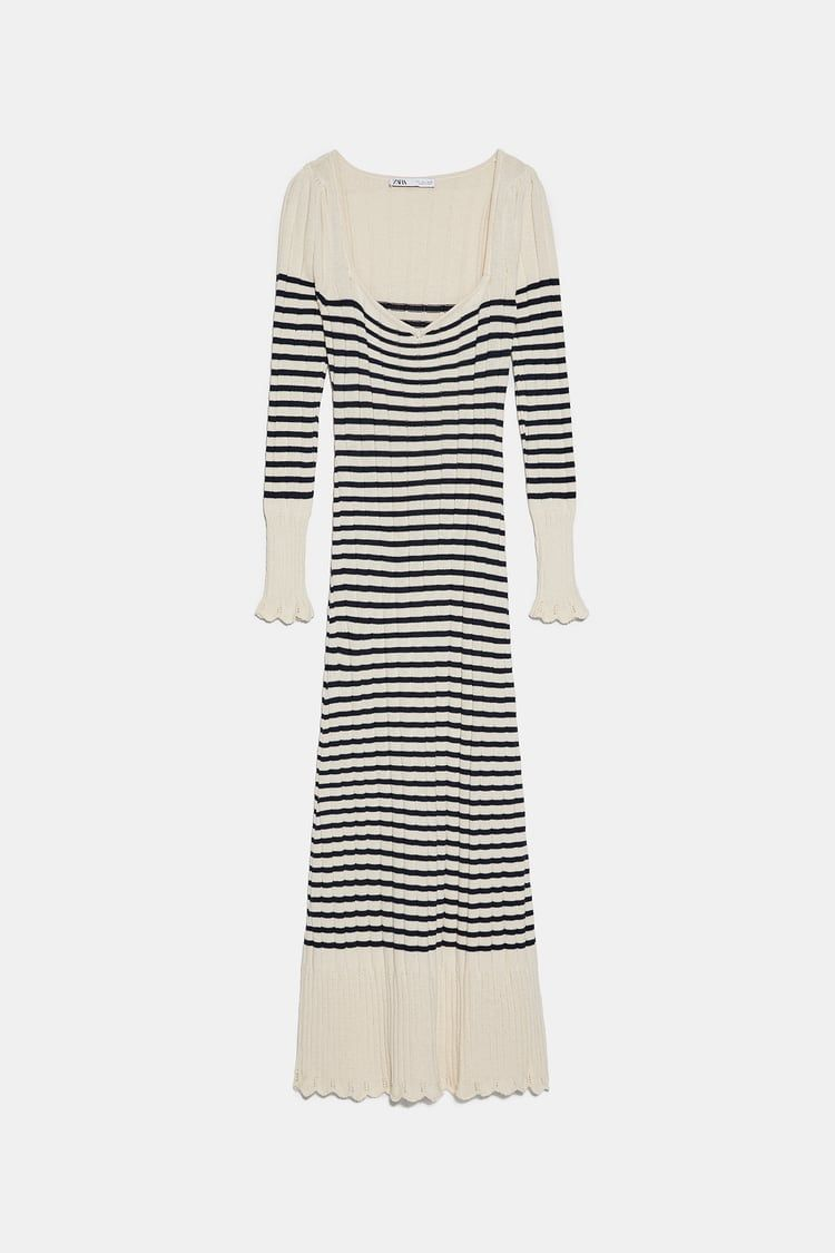 randig långärmad klänning