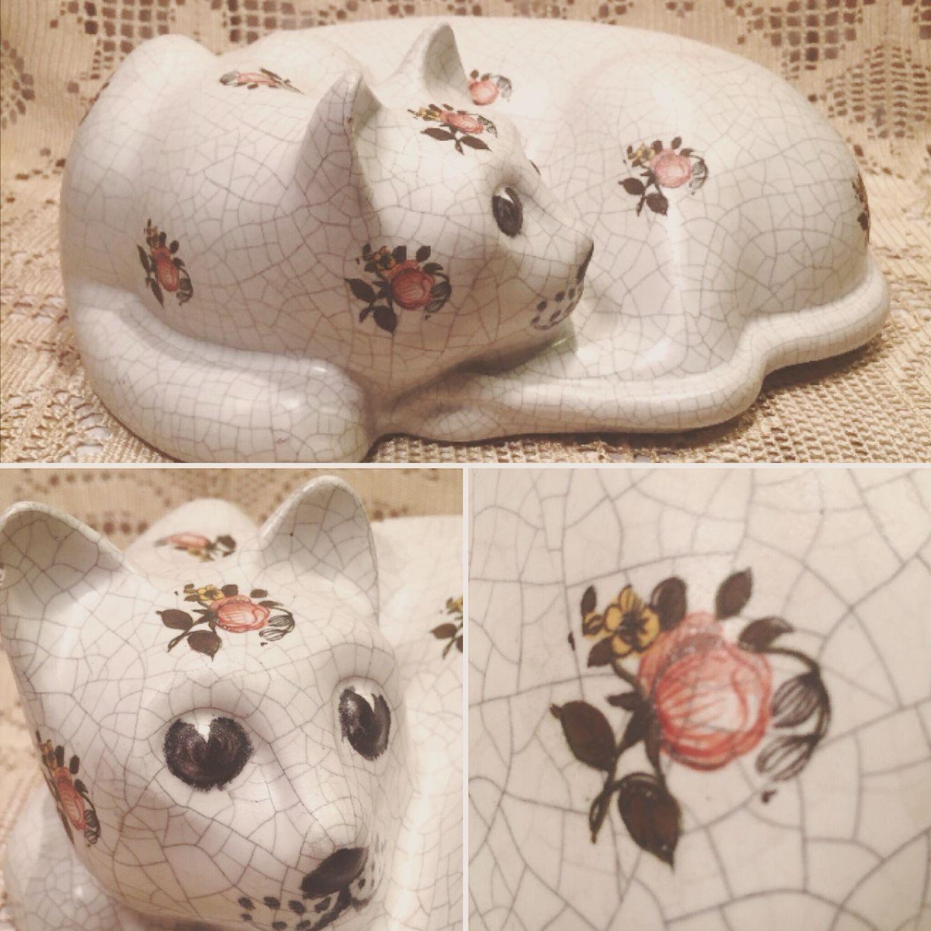 Large Vintage Porcelain Cat made in Portugal