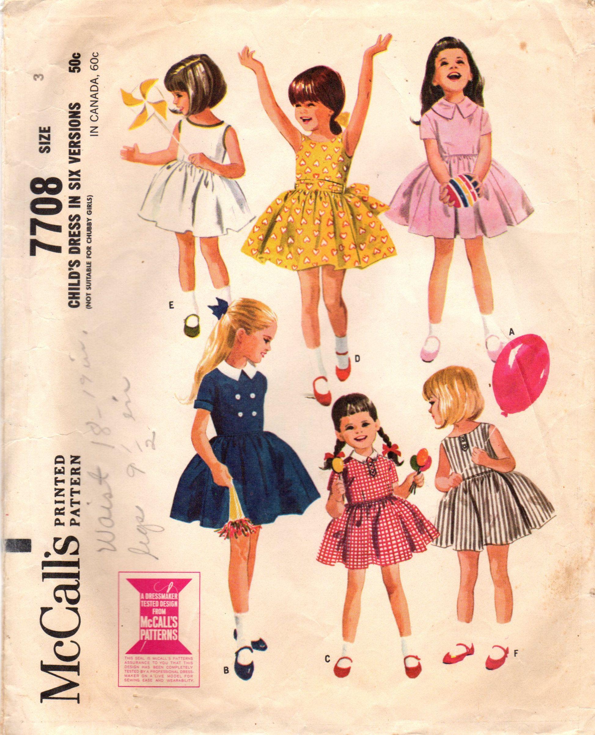 1960s McCall\'s 7708 Vintage Sewing Pattern Girls Full Skirt Dress ...