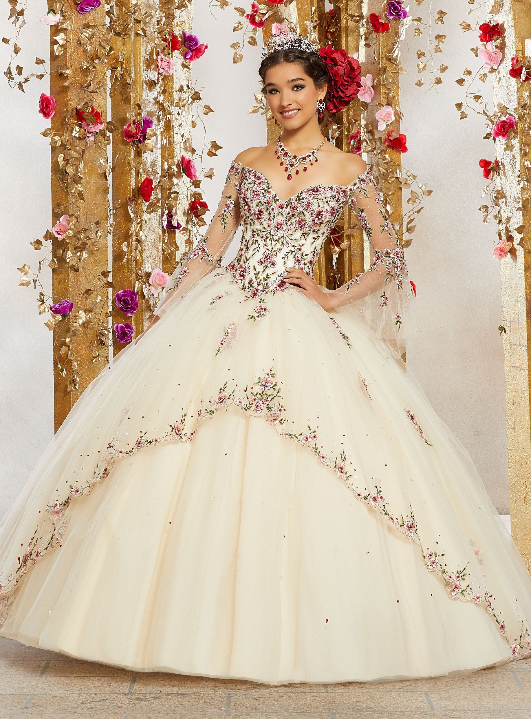 751af24b5ca Embroidered Bell Sleeves Quinceanera Dress by Mori Lee Valentina 34003