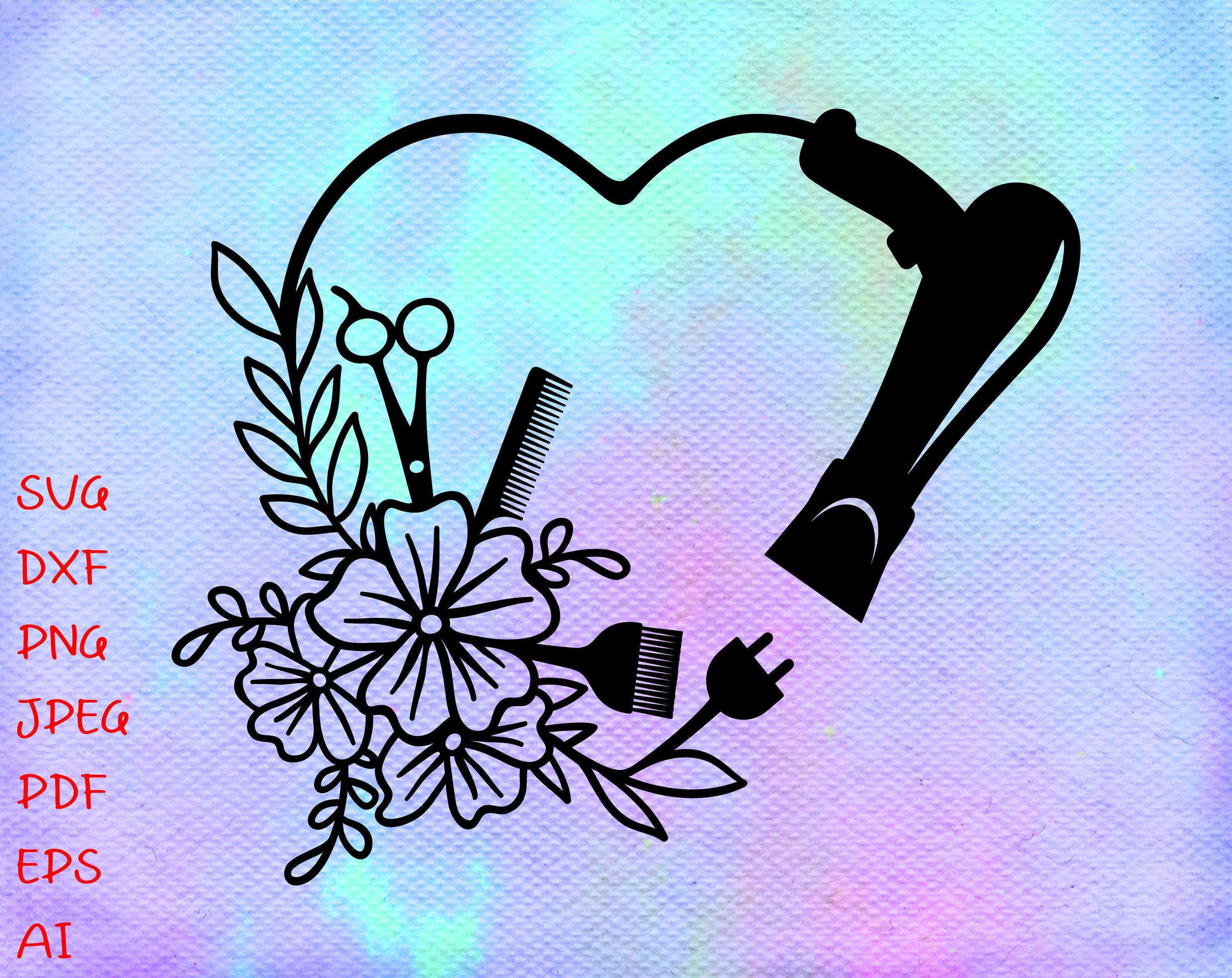 Download Floral Hair Dryer Heart SVG FileHairstylist SVGBeautician ...