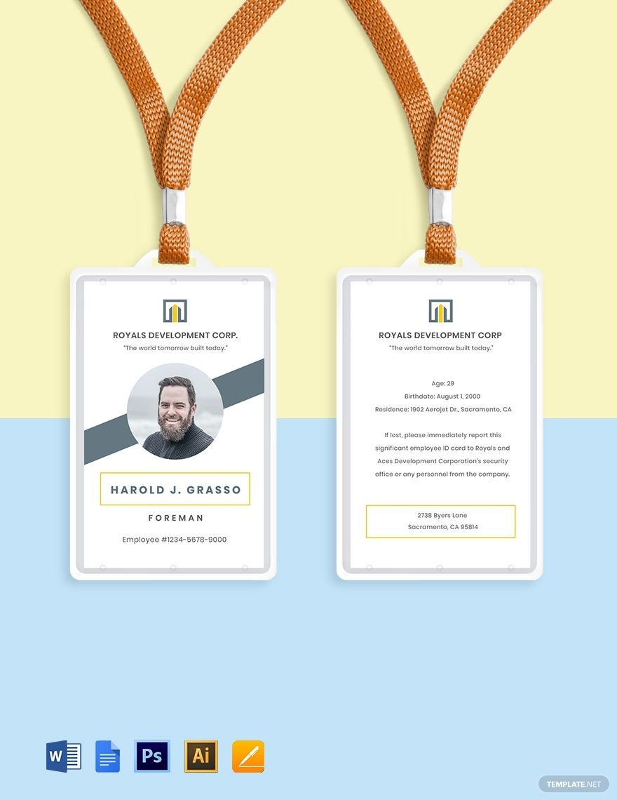 Construction Employee Id Card Template Ad Paid Employee Construction Id Template Employee Id Card Id Card Template Business Card Template Design