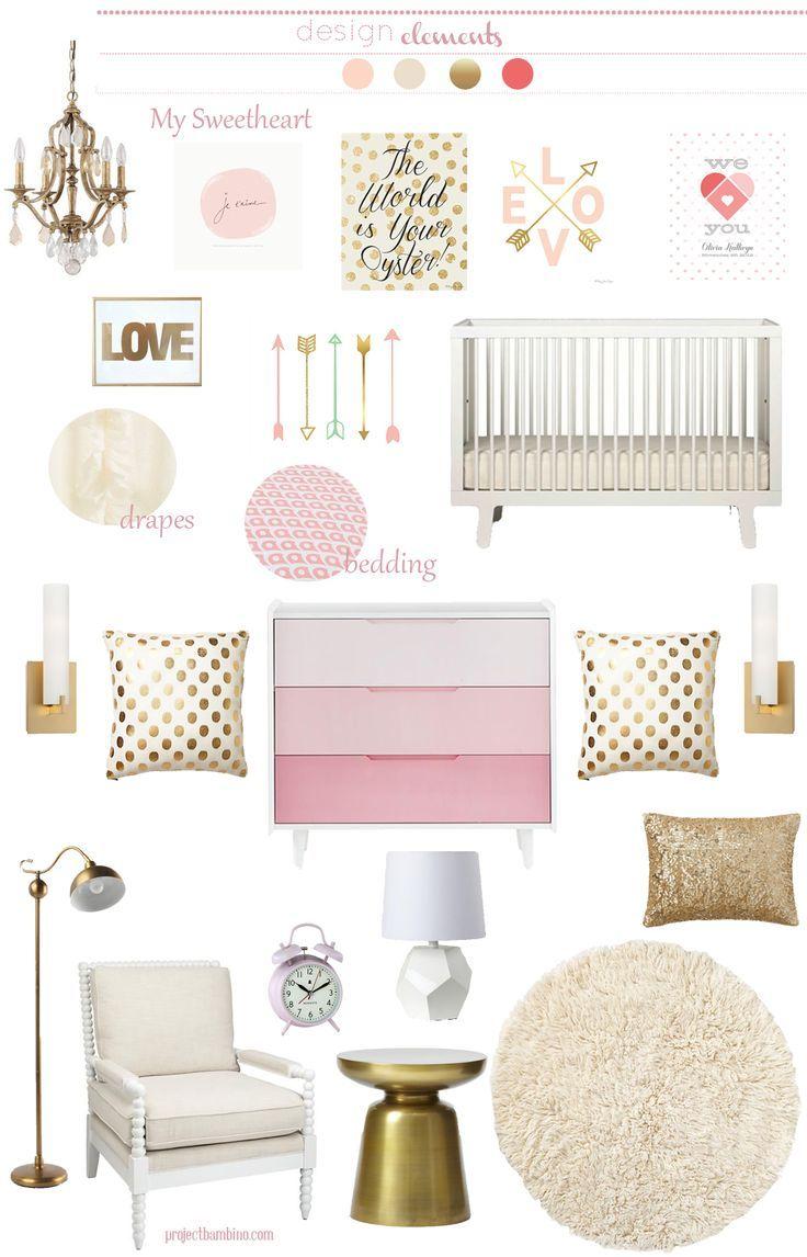 Pink gold girl nursery cadenlane pinterest for White and gold nursery