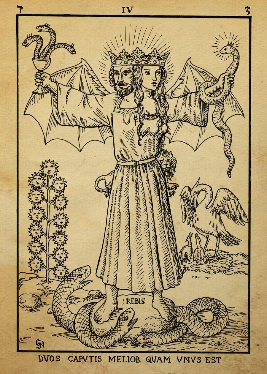 Alchemy Woodcut Duos Caputis Melior Quam Unus Est By Dashinvaine On
